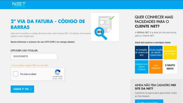 FATURA NET 2 VIA por CPF