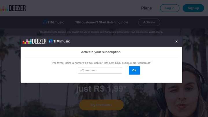 Ativar Tim Music Deezer