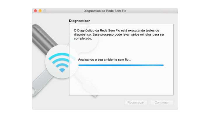 Diagnóstico de Rede sem fio do Macbook