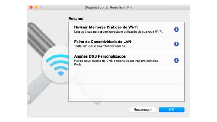 Diagnóstico de Rede do Macbook